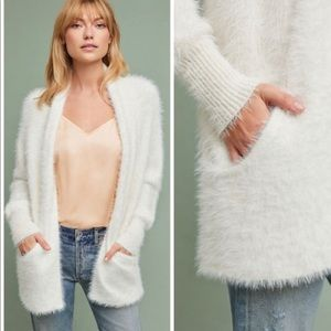 Knitted and Knotted Pocketed Eyelash Cardigan